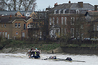 London. United Kingdom,  Both crews on the &quot;Chiswick&quot; approaching the Brewery, during the 2017. Oxford University, Annual Trial Eights, raced over the Championship Course, Putney to Mortlake. River Thames, <br /> <br /> Wednesday  06/12/2017<br /> <br /> [Mandatory Credit:Peter SPURRIER Intersport Images]<br /> <br /> OUBC Crew Names. <br /> STABLE White Shirts.<br /> Bow. Jonathan Olandi<br /> 2. Charles Buchanan<br /> 3. Will Cahill<br /> 4. Alexander Wythe<br /> 5. William Geffen<br /> 6. Anders Weiss<br /> 7. Iain Mandale<br /> Stroke. Vassilis Ragoussis<br /> Cox. Zachary Thomas Johnson<br /> <br /> STRONG Black Shirts<br /> Bow. Luke Robinson<br /> 2. Angus Forbes<br /> 3. Nicholas Elkington<br /> 4. Benedict Aldous<br /> 5. Tobias Schroder<br /> 6. Joshua Bugajski<br /> 7. Claas Mertens<br /> Stroke. Felix Drinkall<br /> Cox. Anna Carbery