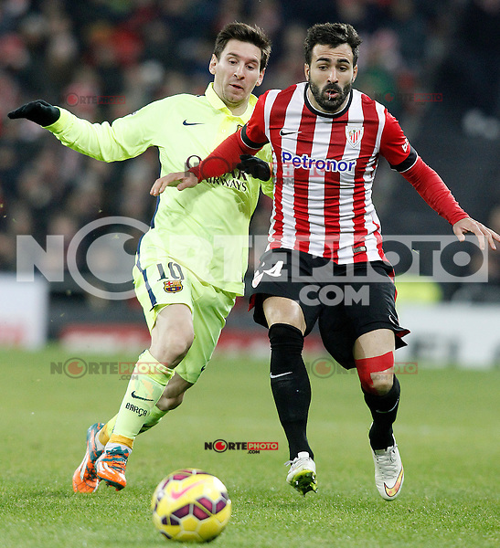 Atletic de Bilbao's Mikel Balenziaga (r) and FC Barcelona's Leo Messi during La Liga match.February 8,2015. (ALTERPHOTOS/Acero) /NORTEphoto.com