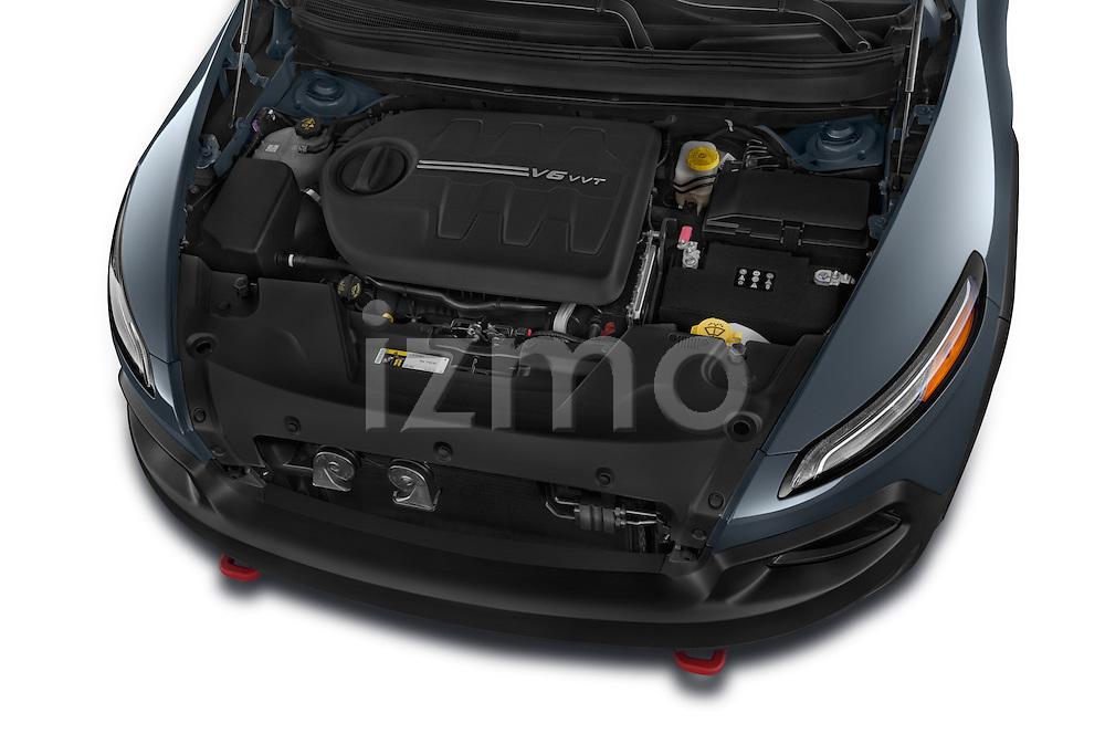 Car stock 2017 Volkswagen Cherokee Trailhawk 4X4 5 Door SUV engine high angle detail view