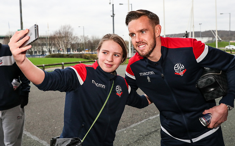 Bolton Wanderers' Craig Noone poses for a selfie with a supporter<br /> <br /> Photographer Andrew Kearns/CameraSport<br /> <br /> Emirates FA Cup Third Round - Bolton Wanderers v Walsall - Saturday 5th January 2019 - University of Bolton Stadium - Bolton<br />  <br /> World Copyright © 2019 CameraSport. All rights reserved. 43 Linden Ave. Countesthorpe. Leicester. England. LE8 5PG - Tel: +44 (0) 116 277 4147 - admin@camerasport.com - www.camerasport.com