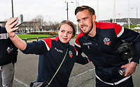 Bolton Wanderers' Craig Noone poses for a selfie with a supporter<br /> <br /> Photographer Andrew Kearns/CameraSport<br /> <br /> Emirates FA Cup Third Round - Bolton Wanderers v Walsall - Saturday 5th January 2019 - University of Bolton Stadium - Bolton<br />  <br /> World Copyright &copy; 2019 CameraSport. All rights reserved. 43 Linden Ave. Countesthorpe. Leicester. England. LE8 5PG - Tel: +44 (0) 116 277 4147 - admin@camerasport.com - www.camerasport.com