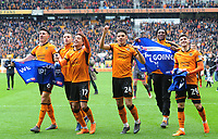 Wolverhampton Wanderers' Danny Batth, Diogo Jota, Helder Costa, Morgan Gibbs-White and Ruben Vinagre celebrate at full time <br /> <br /> Photographer Ashley Crowden/CameraSport<br /> <br /> The EFL Sky Bet Championship - Wolverhampton Wanderers v Birmingham City - Sunday 15th April 2018 - Molineux - Wolverhampton<br /> <br /> World Copyright &copy; 2018 CameraSport. All rights reserved. 43 Linden Ave. Countesthorpe. Leicester. England. LE8 5PG - Tel: +44 (0) 116 277 4147 - admin@camerasport.com - www.camerasport.com