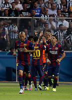Calcio, finale di Champions League Juventus vs Barcellona all'Olympiastadion di Berlino, 6 giugno 2015.<br /> FC Barcelona's Ivan Rakitic, second from right, celebrates with teammates after scoring during the Champions League football final between Juventus Turin and FC Barcelona, at Berlin's Olympiastadion, 6 June 2015. Barcelona won 3-1.<br /> UPDATE IMAGES PRESS/Isabella Bonotto