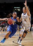 SIOUX FALLS, SD - MARCH 5:  Kamilan Carter #4 from IPFW drives against Gabrielle Boever #4 from South Dakota State during the Summit League Basketball Championship Saturday in Sioux Falls.  (Photo by Dave Eggen/Inertia)