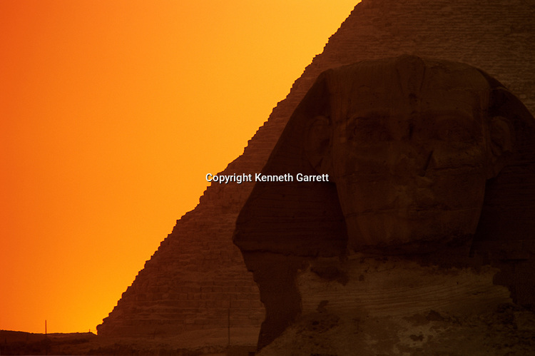 Sunset on the Giza plateau and pyramids, Egypt,Old Kingdom,Sphinx