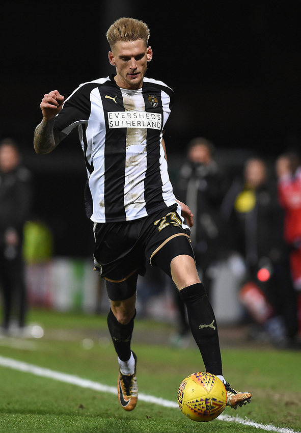 Notts County's Daniel Jones<br /> <br /> Photographer Jon Hobley/CameraSport<br /> <br /> The EFL Sky Bet League Two - Notts County v Crawley Town - Tuesday 23rd January 2018 - Meadow Lane - Nottingham<br /> <br /> World Copyright &copy; 2018 CameraSport. All rights reserved. 43 Linden Ave. Countesthorpe. Leicester. England. LE8 5PG - Tel: +44 (0) 116 277 4147 - admin@camerasport.com - www.camerasport.com