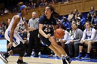 DURHAM, NC - NOVEMBER 29: Kayla Padilla #45 of the University of Pennsylvania drives with the ball during a game between Penn and Duke at Cameron Indoor Stadium on November 29, 2019 in Durham, North Carolina.
