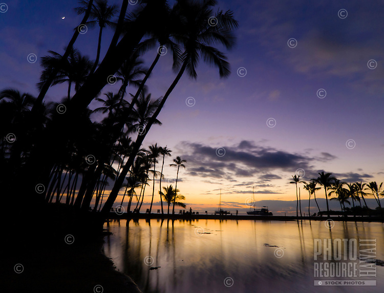 Dusk and a rising moon at 'Anaeho'omalu Bay, as seen from the Ku'uali'i fishpond, Waikoloa, Big Island.