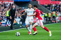 Sunday April 02 2017 <br /> Pictured: Luciano Narsingh Swansea City in action <br /> Re: Premier League match between Swansea City and Middlesbrough at The Liberty Stadium, Swansea, Wales, UK. SUnday 02 April 2017