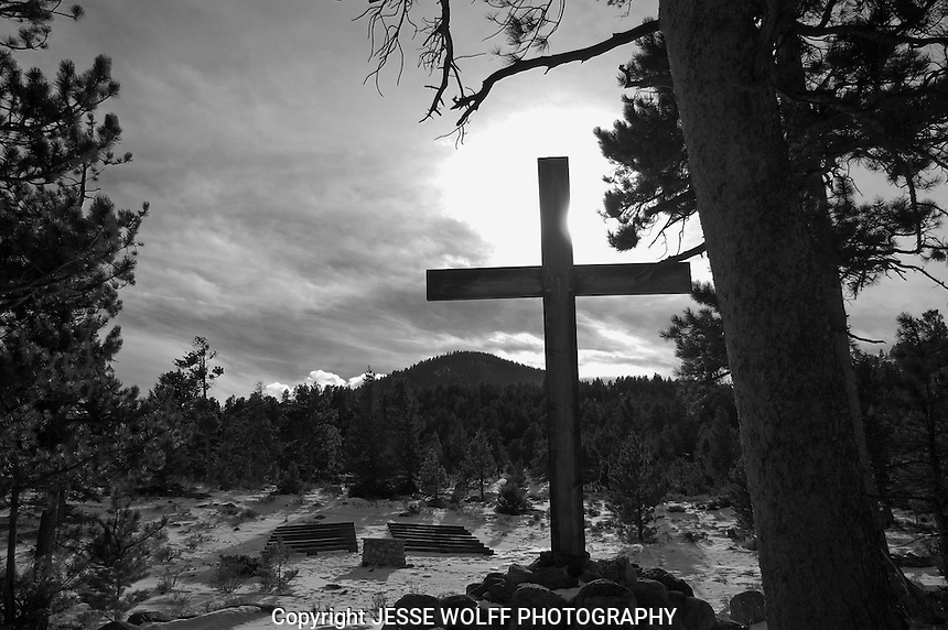 Catching afternoon sun on the cross at the outdoor worship amphitheater at YMCA of the Rockies.