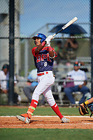 Braylin Tavera (8) during the Dominican Prospect League Elite Florida Event at Pompano Beach Baseball Park on October 14, 2019 in Pompano beach, Florida.  (Mike Janes/Four Seam Images)