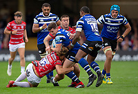 Bath Rugby's Freddie Burns is tackled by Gloucester Rugby's Matt Banahan<br /> <br /> Photographer Bob Bradford/CameraSport<br /> <br /> Gallagher Premiership - Bath Rugby v Gloucester Rugby - Saturday September 8th 2018 - The Recreation Ground - Bath<br /> <br /> World Copyright &copy; 2018 CameraSport. All rights reserved. 43 Linden Ave. Countesthorpe. Leicester. England. LE8 5PG - Tel: +44 (0) 116 277 4147 - admin@camerasport.com - www.camerasport.com