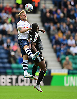 Preston North End's Tom Clarke vies for possession with Reading's Yakou Meite<br /> <br /> Photographer Chris Vaughan/CameraSport<br /> <br /> The EFL Sky Bet Championship - Preston North End v Reading - Saturday 15th September 2018 - Deepdale - Preston<br /> <br /> World Copyright &copy; 2018 CameraSport. All rights reserved. 43 Linden Ave. Countesthorpe. Leicester. England. LE8 5PG - Tel: +44 (0) 116 277 4147 - admin@camerasport.com - www.camerasport.com