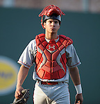 Catcher Sebastian Valle (9) of the Lakewood BlueClaws walks in from the bullpen before a game against the Greenville Drive on May 13, 2010, at Fluor Field at the West End in Greenville, S.C.