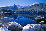 Bear Lake reflection, November, morning, new, fresh, snow, Rocky Mountain National Park, Colorado, USA