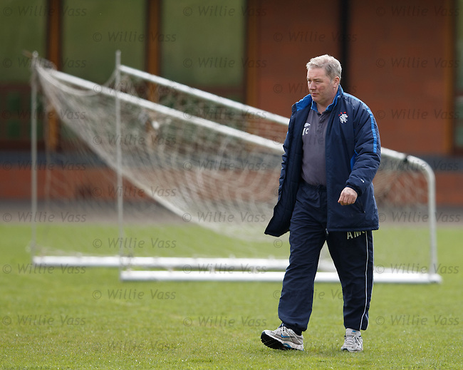 Ally McCoist walks out for training