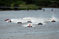 Mark Schmerbach, (#6) leads the field out of the first turn. (SST-45 class)