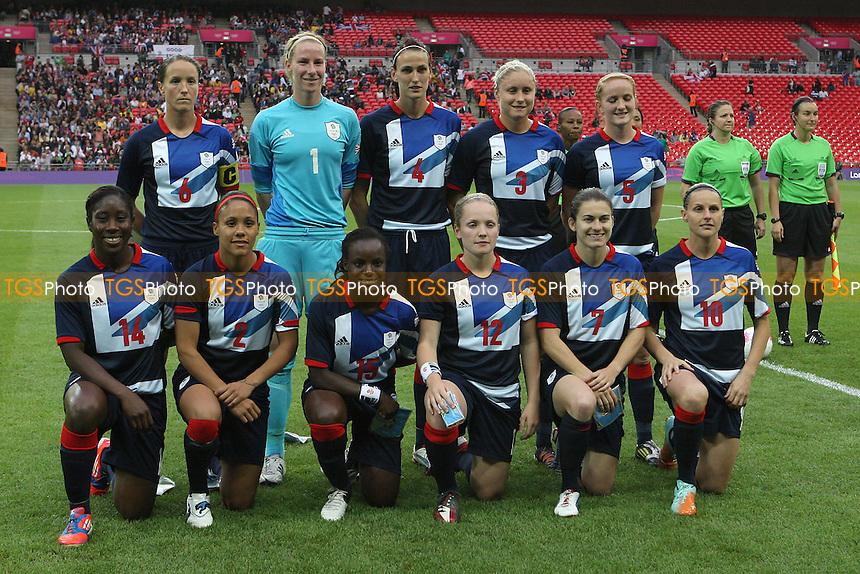 Great Britain line up before kick-off - Great Britain Women vs Brazil Women - Womens Olympic Football Tournament London 2012 Group E at Wembley Stadium, London - 31/07/12 - MANDATORY CREDIT: Gavin Ellis/SHEKICKS/TGSPHOTO - Self billing applies where appropriate - 0845 094 6026 - contact@tgsphoto.co.uk - NO UNPAID USE.