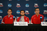 13 December 2007: Ohio State's Casey Latchem (l), Xavier Balc, and Eric Brunner (r). The Ohio State Buckeyes held a press conference at SAS Stadium in Cary, North Carolina one day before playing in a NCAA Division I Mens College Cup semifinal game.