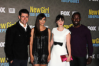 """Max Greenfield, Hannah Simone, Zooey Deschanel, Lamorne Morris<br /> at the """"New Girl"""" 100th Episode Party, W Hotel, Westwood, CA 03-02-16<br /> David Edwards/DailyCeleb.Com 818-249-4998"""