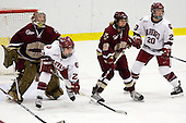 Corinne Boyles (BC - 29), Randi Griffin (Harvard - 23), Shannon Webster (BC - 12), Kate Buesser (Harvard - 20) - The Harvard University Crimson defeated the Boston College Eagles 5-0 in their Beanpot semi-final game on Tuesday, February 2, 2010 at the Bright Hockey Center in Cambridge, Massachusetts.