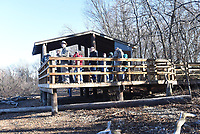 A viewing pavilion at the end of the trail     February 2020    is one of three pavilions near the lake for wildlife watching. Pavilions also have information about wildlife that visitors might see.<br />