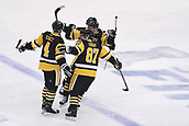 8th June 2017, Pittsburgh, PA, USA; Pittsburgh Penguins defenseman Justin Schultz (4) celebrates his goal with teammates during the first period in Game Five of the 2017 NHL Stanley Cup Final between the Nashville Predators and the Pittsburgh Penguins on June 8, 2017, at PPG Paints Arena