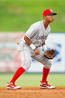 Shortstop Edgar Duran #19 of the Lakewood BlueClaws on defense against the Kannapolis Intimidators at Fieldcrest Cannon Stadium on July 16, 2011 in Kannapolis, North Carolina.  The Intimidators defeated the BlueClaws 5-3.   (Brian Westerholt / Four Seam Images)