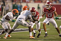 Hawgs Illustrated/BEN GOFF <br /> Jules Dornevil (left), Florida A&M cornerback, and Andrew Hines, Florida A&M freesafety, hit Chase Hayden, Arkansas running back, as Deon Stewart, Arkansas wide receiver, blocks in the second quarter against Florida A&M Thursday, Aug. 31, 2017, during the game at War Memorial Stadium in Little Rock.