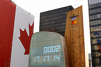 The official Olympic clock for the 2010 Winter Games, Vancouver, British Columbia Canada.