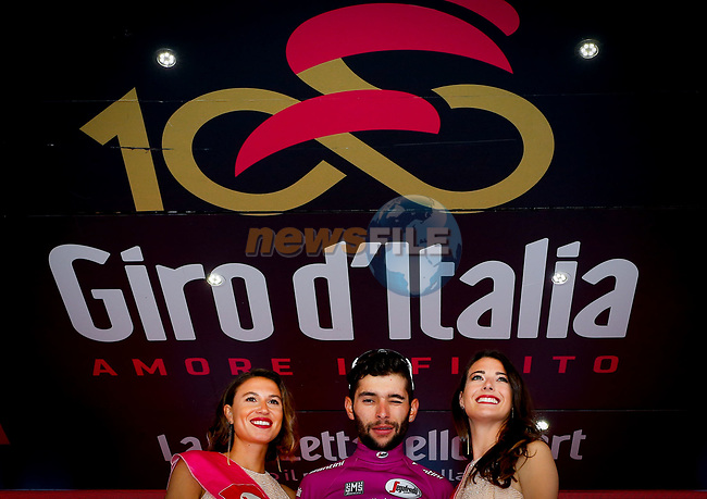 Fernando Gaviria (COL) Quick-Step Floors retains the points Maglia Ciclamino at the end of Stage 15 of the 100th edition of the Giro d'Italia 2017, running 199km from Valdengo to Bergamo, Italy. 21st May 2017.<br /> Picture: LaPresse/Simone Spada | Cyclefile<br /> <br /> <br /> All photos usage must carry mandatory copyright credit (&copy; Cyclefile | LaPresse/Simone Spada)