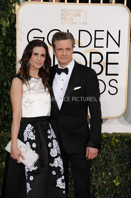 WWW.ACEPIXS.COM<br /> <br /> January 11 2015, LA<br /> <br /> Actor Colin Firth (R) and producer Livia Giuggioli arriving at the 72nd Annual Golden Globe Awards at The Beverly Hilton Hotel on January 11, 2015 in Beverly Hills, California. <br /> <br /> <br /> By Line: Peter West/ACE Pictures<br /> <br /> <br /> ACE Pictures, Inc.<br /> tel: 646 769 0430<br /> Email: info@acepixs.com<br /> www.acepixs.com