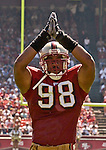 San Francisco 49ers linebacker Julian Peterson (98) on Sunday, September 21, 2003, in San Francisco, California. The Browns defeated the 49ers 13-12.
