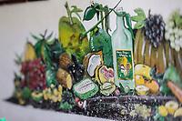 France, île de la Réunion, Bras Panon , Ferme Auberge d'Eva Annibal, mur peint représentant les punch arrangés  //  France, Reunion island (French overseas department), Bras Panon, Eva Annibal framhouse inn,  painted wall representing arranged punch