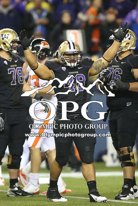 OCT 27, 2012: Washington's #38 Jonathan Amosa celebrates after Bishop Sankey scored a touchdown against Oregon.  Washington won 20-17 over Oregon State at CenturyLink Field in Seattle, WA...
