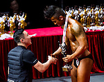 Winners of the Junior Men's Bodybuilding 70kg & below category during the 2016 Hong Kong Bodybuilding Championships on 12 June 2016 at Queen Elizabeth Stadium, Hong Kong, China. Photo by Lucas Schifres / Power Sport Images