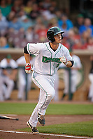 Dayton Dragons second baseman Brantley Bell (3) runs to first base during a game against the Cedar Rapids Kernels on May 10, 2017 at Fifth Third Field in Dayton, Ohio.  Cedar Rapids defeated Dayton 6-5 in ten innings.  (Mike Janes/Four Seam Images)