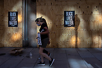 Black Lives Matter signs line the exterior of The Hamilton, a restaurant near the White House, during a march against police brutality and racism in Washington, D.C. on Saturday, June 6, 2020.<br /> Credit: Amanda Andrade-Rhoades / CNP/AdMedia