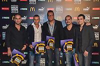 ATENCAO EDITOR: FOTO EMBARGADA PARA VEICULOS INTERNACIONAIS. - RIO DE JANEIRO, RJ,19 DE SETEMBRO 2012 - PREMIO MULTISHOW 2012- Grupo Sorriso Maroto na cerimonia de entrega do Premio Multishow na noite desta terca dia 18 de setembro, no HSBC Arena, na Barra da Tijuca, zona oestedo Rio de Janeiro.(FOTO: MARCELO FONSECA / BRAZIL PHOTO PRESS).