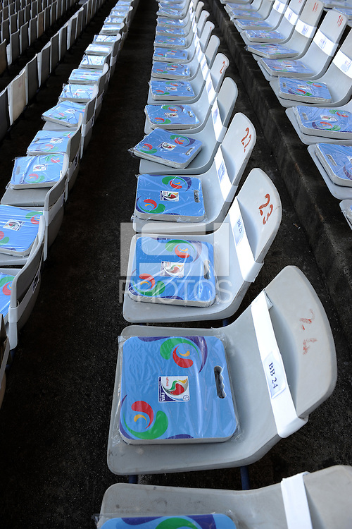 FIFA Confederations Cup cushions are placed on every seat in the Loftus Versfeld Stadium. Italy defeated USA 3-1 during the FIFA Confederations Cup at Loftus Versfeld Stadium, in Tshwane/Pretoria South Africa on June 15, 2009.