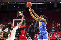College Park, MD - March 25, 2019: UCLA Bruins guard Kennedy Burke (22) shoots a jump shot during game between UCLA and Maryland at  Xfinity Center in College Park, MD.  (Photo by Elliott Brown/Media Images International)