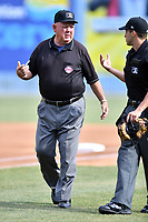 Umpires Dale Ford and Jude Koury before a game between the  Asheville Tourists and the Lakewood BlueClaws at McCormick Field on June 3, 2017 in Asheville, North Carolina. The Tourists defeated the BlueClaws 10-7. (Tony Farlow/Four Seam Images)
