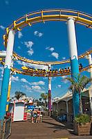 Pacific Park Roller Coaster, Santa Monica  CA, on the Pier Over the Ocean, Beach,  Recreation, SoCal Beach, South Bay, Santa Monica Bay