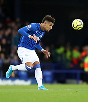11th January 2020; Goodison Park, Liverpool, Merseyside, England; English Premier League Football, Everton versus Brighton and Hove Albion; Mason Holgate of Everton controls the ball with his head - Strictly Editorial Use Only. No use with unauthorized audio, video, data, fixture lists, club/league logos or 'live' services. Online in-match use limited to 120 images, no video emulation. No use in betting, games or single club/league/player publications