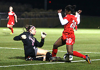 BOYDS, MARYLAND - April 06, 2013:  Jasmyne Spencer (20) of The Washington Spirit clashes with Churchill O'Connell (1) of the University of Virginia women's soccer team in a NWSL (National Women's Soccer League) pre season exhibition game at Maryland Soccerplex in Boyds, Maryland on April 06. Virginia won 6-3.