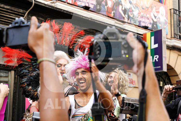Winner of the heels race of the lgtb pride party of Madrid. July 4, 2019. (ALTERPHOTOS/JOHANA HERNANDEZ)