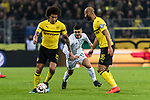 05.02.2019, Signal Iduna Park, Dortmund, GER, DFB-Pokal, Achtelfinale, Borussia Dortmund vs Werder Bremen<br /> <br /> DFB REGULATIONS PROHIBIT ANY USE OF PHOTOGRAPHS AS IMAGE SEQUENCES AND/OR QUASI-VIDEO.<br /> <br /> im Bild / picture shows<br /> Axel Witsel (Dortmund #28), Milot Rashica (Werder Bremen #11), &Ouml;mer / Oemer Toprak (Dortmund #36), <br /> <br /> Foto &copy; nordphoto / Ewert