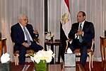 Palestinian President Mahmoud Abbas meets with Egyptian President Abdel Fattah al-Sisi, in New York City, U.S. September 18, 2017. Photo by Osama Falah