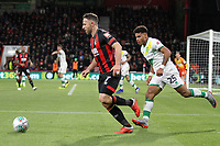 Marc Pugh of Bournemouth under pressure from Onel Hernandez of Norwich City during AFC Bournemouth vs Norwich City, Caraboa Cup Football at the Vitality Stadium on 30th October 2018