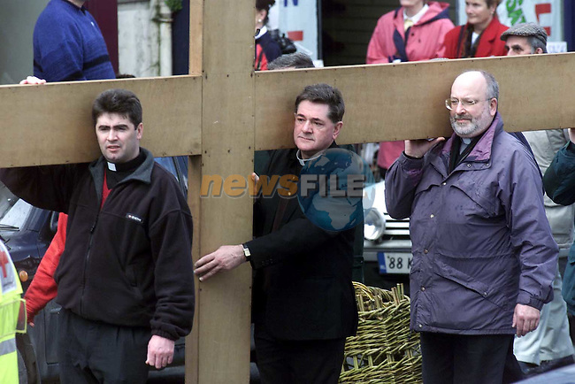 The stations of the cross making thier way through the streets of Drogheda on Good Friday..Picture Paul Mohan Newsfile